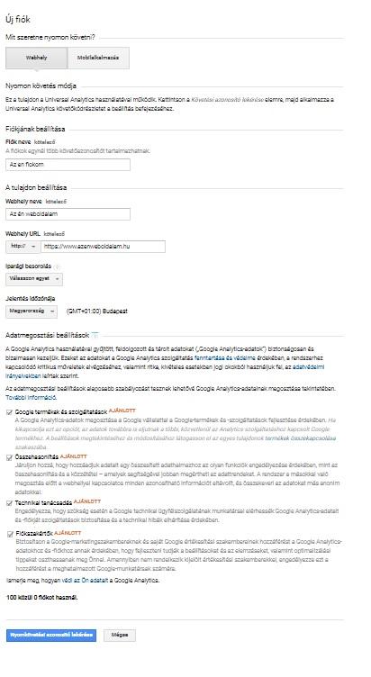 Google analytics regisztráció folyamata