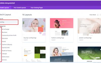 Landing oldal készítés – WordPress, Divi 2. verzió