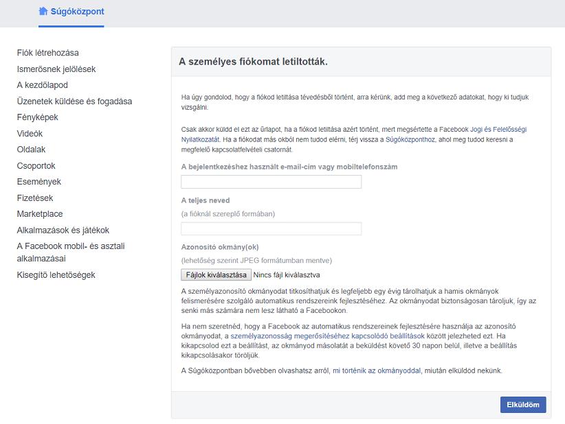 Facebook letiltás – avagy mit tehetsz, hogy visszaszerezd fiókodat 2